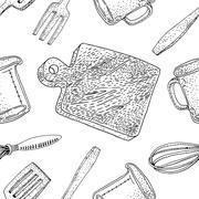 Vector kitchen tools seamless pattern. Stock Illustration