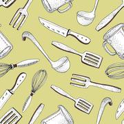 Vector kitchen tools seamless pattern Stock Illustration