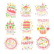 Kids Birthday Party Entertainment Promo Signs Set Of Colorful Vector Design Stock Illustration