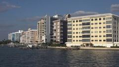 Sarasota Bay waterfront apartment buildings, Florida, USA Stock Footage