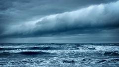 Stormy Rough Sea. Dramatic Dark Sky Cloudscape. Stock Footage