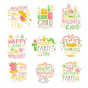Kids Birthday Party Entertainment Promo Signs Series Of Colorful Vector Design Stock Illustration