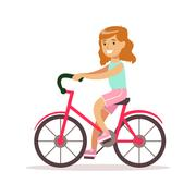 Happy Girl In Classic Girly Color Clothes Smiling Cartoon Character Riding A Stock Illustration
