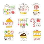 Candy Shop Promo Signs Series Of Colorful Vector Design Templates With Sweets Stock Illustration