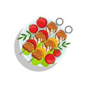 Pork Skewers With Mushrooms And Pepper, Oktoberfest Grill Food Plate Stock Illustration