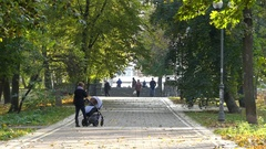 People Walking Along a Parkland in Impressive Maple Tree Fall. Stock Footage