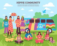 Hippie Community Outdoor Composition Stock Illustration