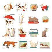 Pet Shop Icons Set Stock Illustration