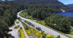 Aerial scene of route, lake and yellow plant on both sides of the street Stock Footage