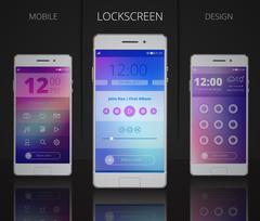 Smartphones Lock Screen Designs Stock Illustration
