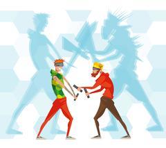 Cybersport Esport Games VR Flat Poster Stock Illustration