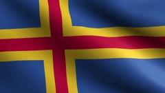 Realistic Beautiful Aland Islands Flag Looping Slow 4K Resolution Stock Footage