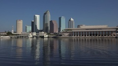 Reflections in Hillsborough River of Tampa skyline, Florida, USA Stock Footage