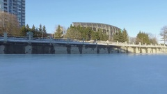 Ottawa Rideau Canal winter ice skating into the sun 4k Stock Footage