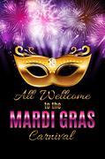 Mardi Gras Party Mask Holiday Poster Background. Vector Illustra Stock Illustration