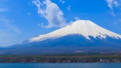4K Timelapse Mt.Fuji at Lake Yamanaka, Yamanashi, Japan Stock Footage