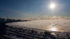 Stunning Time Lapse Mist on Lake CityScape Stock Footage