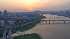 Seoul South Korea in beautiful sunset light, modern urban skyline, skyscrapers Stock Footage