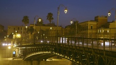 Bridge over the city on a clear night Stock Footage