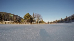 Ottawa Rideau Canal skating rink time lapse down low on ice go pro 4k Stock Footage