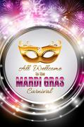 Mardi Gras Party Holiday Poster Background. Vector Illustration Stock Illustration