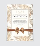 Vintage Wedding Invitation with Bow and Ribbon Template Vector I Stock Illustration