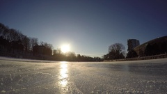 Ottawa Rideau Canal ice skating over camera unique approaching angle 4k go pro Stock Footage