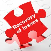 Money concept: Recovery Of losses on puzzle background Stock Illustration