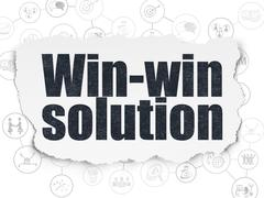 Finance concept: Win-win Solution on Torn Paper background Stock Illustration