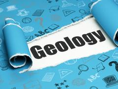 Education concept: black text Geology under the piece of  torn paper Stock Illustration