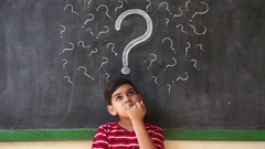 Doubts And Thoughts With Hispanic Child Thinking At School Stock Footage