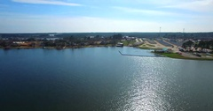 Aerial Footage - Lake Conroe Flying Toward Land By Papas On The Lake Stock Footage