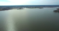 Aerial Footage - Flying Over Open Water Toward Lake Conroe Park - Part 4 Stock Footage