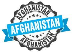 Afghanistan round ribbon seal Stock Illustration