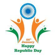 Happy indian republic day Stock Illustration