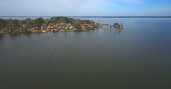 Aerial Footage - Flying Over Diamond Head on Lake Conroe Stock Footage