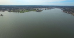 Aerial Footage - Flying Over Open Water Toward Wolfies Stock Footage