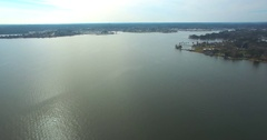 Aerial Footage - Flying Over Open Water Toward Lake Conroe Park - Part 2 Stock Footage