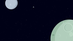Alien flying in space ship. Retro cartoon style with flat design. Stock Footage