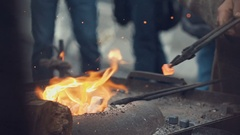 Blacksmith at work in the repair shop in Prague. Slow motion Stock Footage