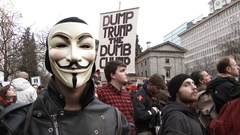 Anonymous At Anti Trump Rally 2 Stock Footage