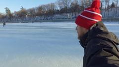 Ottawa Rideau Canal bearded man skating on ice selfie side angle 4k Stock Footage