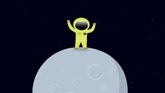 Astronaut in space standing on a moon or planet. Stock Footage