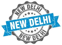 New Delhi round ribbon seal Stock Illustration
