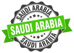 Saudi Arabia round ribbon seal Stock Illustration