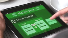 4K Mobile Bank Transferring Money on Tablet Device Stock Footage