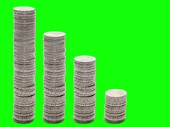 Five stacks of coins decreasing. Stop Motion. Chroma Key. Stock Footage