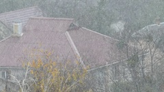 Heavy Snow Covering a Private House Roof Made of Old Fashioned Grey Slate Stock Footage