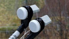 Satellite Aerial Sensors Covering With Snowflakes in a Stormy and Snowy Weather Stock Footage