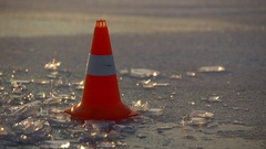 Traffic cone on the ice Stock Footage